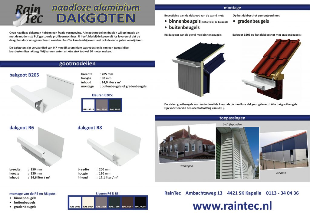 Raintec flyer aluminium naadloze dakgoten 2 paginas